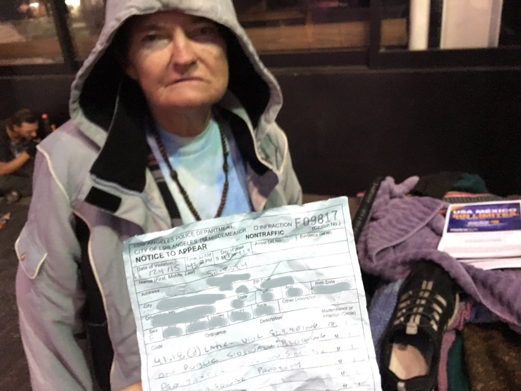 Shirley, a homeless woman in Hollywood, just got a ticket for sitting on the sidewalk. She says it's over $500. https://t.co/HsGgzRuqg1