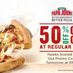 You get 50% off @PapaJohns online orders tomorrow with promo code 50HAWKS because we scored 50 in the first half! https://t.co/2XavIsC2ph