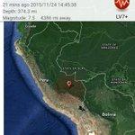 Vía USGS ubicación de sismo 7,5mw en el oeste de Perú https://t.co/g7ZeUqLEk0