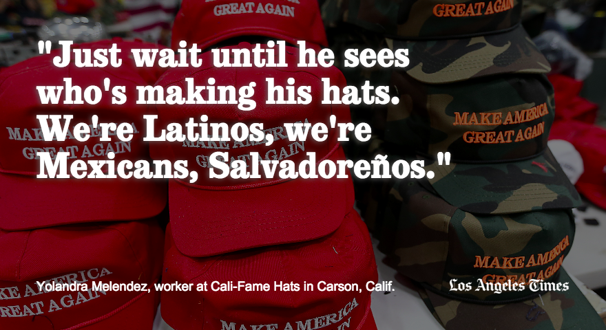 Who makes Trump's hats? My colleague @cmaiduc looks at Carson factory where it all happens. https://t.co/Bk8MmhZbcM https://t.co/E1KF4ktmGd