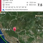 Hace pocos minutos un terremoto 7.5 de magnitud ocurrió en la frontera de Peru y Brasil. Hay alerta de Tsunami https://t.co/qzwFAEdU48