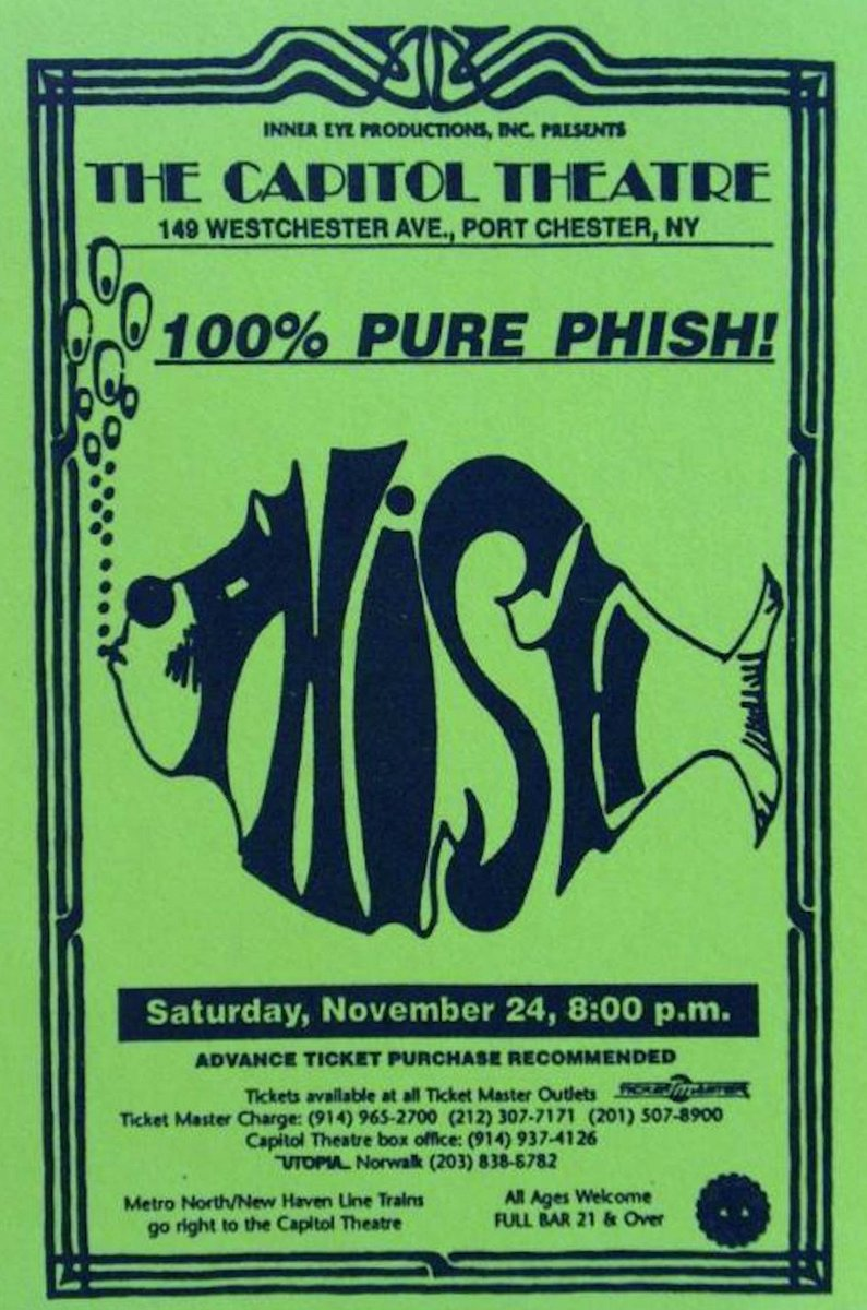 25yrs since #phish's 1st headline (2nd in total) show @capitoltheatre - a thanksgiving tradition. https://t.co/LEVP6fOvrx