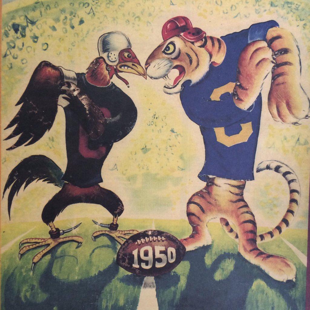 Historic #rivalryweek | #USC #gamecocks vs #Clemson #tigers. 1950 Columbia Magazine courtesy @vintagepalmetto https://t.co/EXmOXoD4in