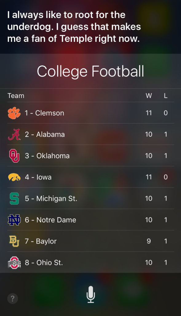Hey Owl Nation (with iPhones), do us a favor and ask Siri who her favorite college football team is right now...