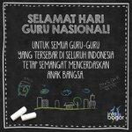 Selamat #HariGuru Nasional untuk semua guru yang tersebar di Indonesia tetap semangat mencerdaskan anak bangsa. https://t.co/DBehCyhZey