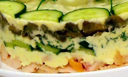 Салат курица грибы огурец сыр слоеный с