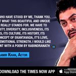 """Aamir Khan ends his statement with Rabindranath Tagores """"Chitto jetha bhoyshunyo (Where the mind is without fear)"""" https://t.co/B3wbI8H6XA"""