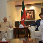 Imran Khan and Ch Mohammad Sarwar at Aleem Khans Office. (Lahore) https://t.co/RoAkaD79Vp