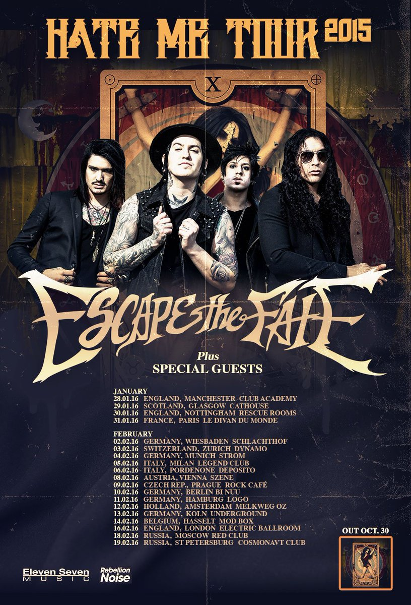 GIG NEWS: @EscapeTheFate will be supported by @fvkillers @NYDrock & @likeastorm on 30th Jan next year!! https://t.co/GlJJZK0U3P