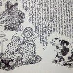 ほらあとがき漫画で、顔の代わりに作者の顔の部分に名前が書いてあったり、プロデューサーの顔がPだったりするのあるじゃん、それを江戸の『朧月猫の草子』(山東京伝と歌川国芳奇跡のコラボ)で既にやってたという衝撃 https://t.co/cHd3gKCqSE