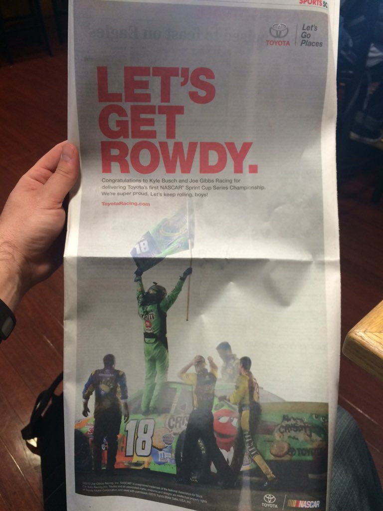 Cool @ToyotaRacing ad in today's @USATODAYsports. #letsgetrowdy #NASCAR https://t.co/rwV9AZBkVn