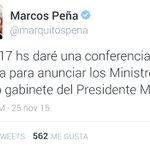 Hoy @marquitospena anuncia el gabinete de @mauriciomacri https://t.co/kPFfIxjW5R