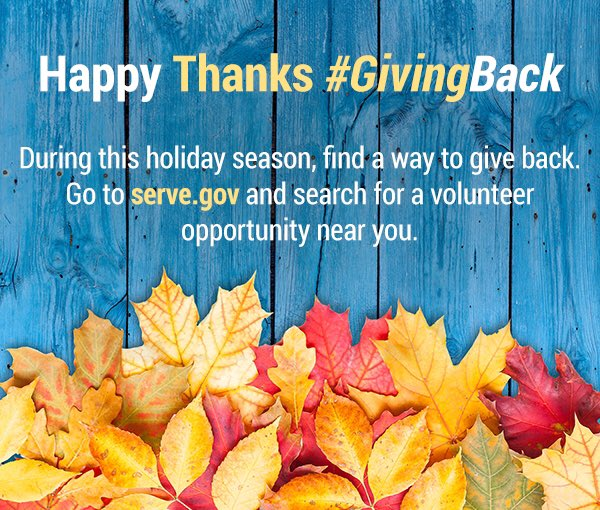 Are you #GivingBack during the Thanksgiving weekend? Find a #volunteer opportunity now on https://t.co/5TpOuQcy45! https://t.co/NVy4A1iVmY