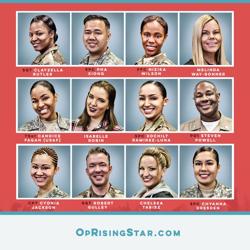#OpRisingStar Send your fav #militaryvocalist to the next round. https://t.co/861bmyTkc7  Nov 29, Dec 1, 3, 5 8am CT https://t.co/27q5nozcVc