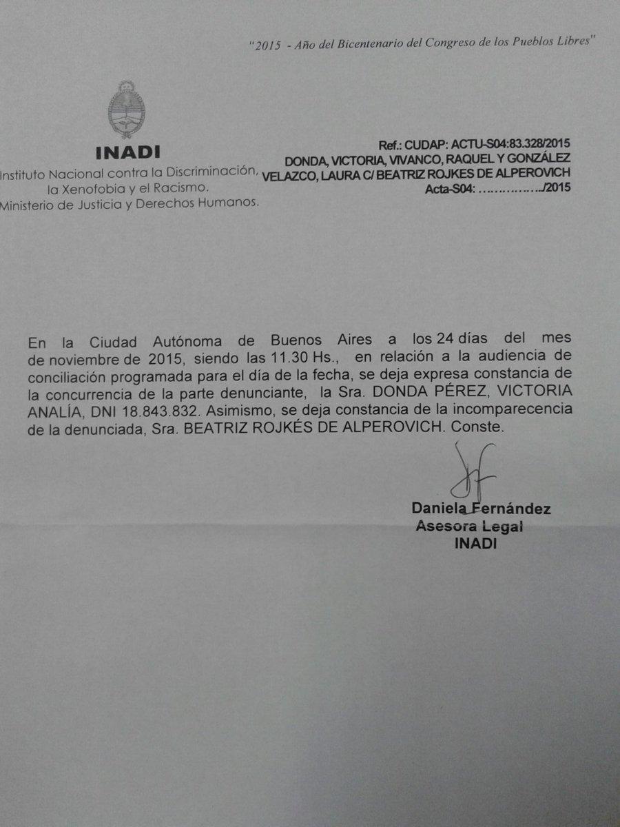 Rojkes de Alperovich faltó a la audiencia convocada por el INADI #NoalaViolenciadeGenero https://t.co/qJqKvXfpVd