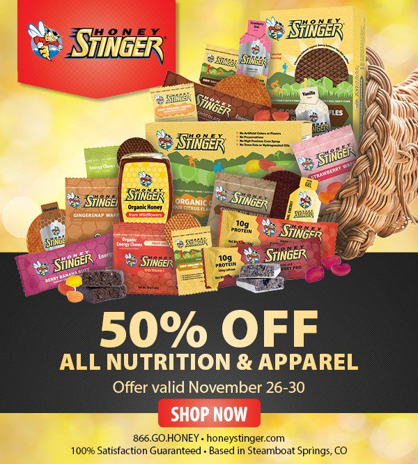 In appreciation of our customers, ENTIRE Honey Stinger website 50% off starting tomorrow. Spread the buzz! https://t.co/OeB37YHuaY