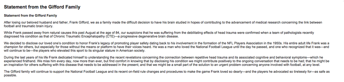 Whoa. Frank Gifford had CTE. NBC just released this statement: https://t.co/L8BXpemipR
