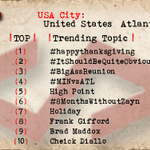 Atlanta 1 #happythanksgiving 2 #ItShouldBeQuiteObvious 3 #BigAssReunion 4 #MINvsATL 5 High Point 7 Holiday https://t.co/behbbmgkqa