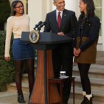 President Barack Obama with his daughters Malia and Sasha at the 2015 Presidential turkey pardon https://t.co/2WCIGUIwT3