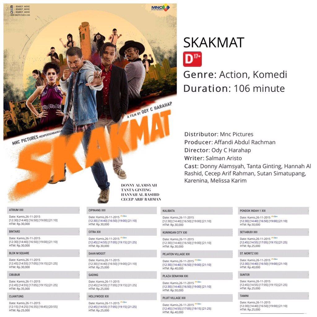 SKAKMAT mulai hari ini!! ayo nonton guys!! #BanggaFilmIndonesia #SKAKMAT2015 #filmindonesia https://t.co/nuJGK5JyAE