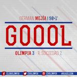 Min. 91   ¡GOOOOL DEL OLIMPIA! German Mejía anota el tercero del encuentro. Ganamos 3-2 y 5-4 en el marcador global. https://t.co/7pPasCqe0L