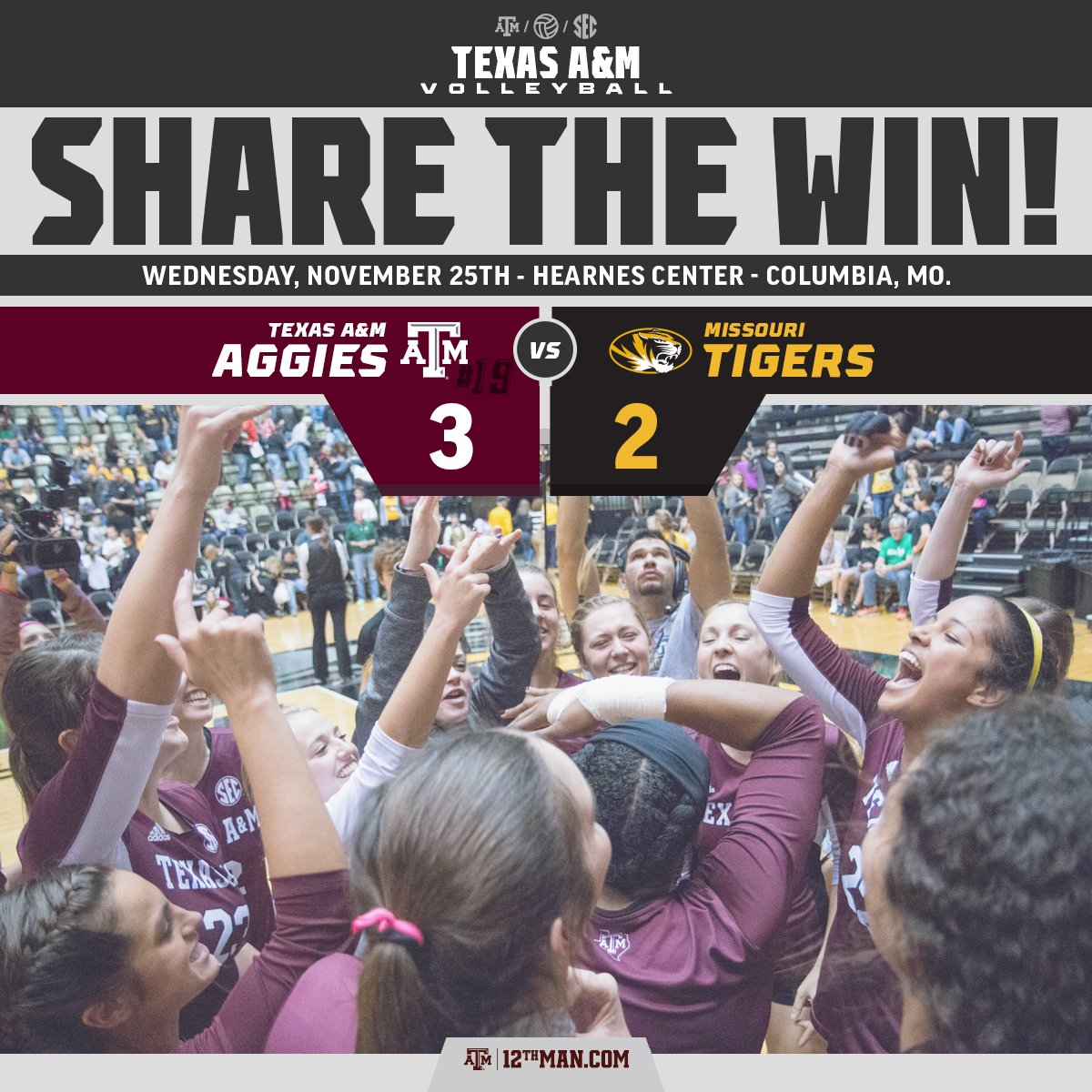 That's 13 in a row, & your Aggies are SEC CHAMPS! #RTtheWIN #12thMan https://t.co/46mV6ThCjk