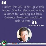 Imran Khan had met the Chief ECP & demanded voting rights for Overseas Pakistanis. #GiveVotingRightsToOverseas https://t.co/XdDkPgCROk