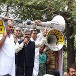 Shri @upadhyaysbjp n MP Shri @p_sahibsingh held demonstration against the Goondaism, VIP Culture of AAP Govt & MLAs. https://t.co/jsctyCSHwx