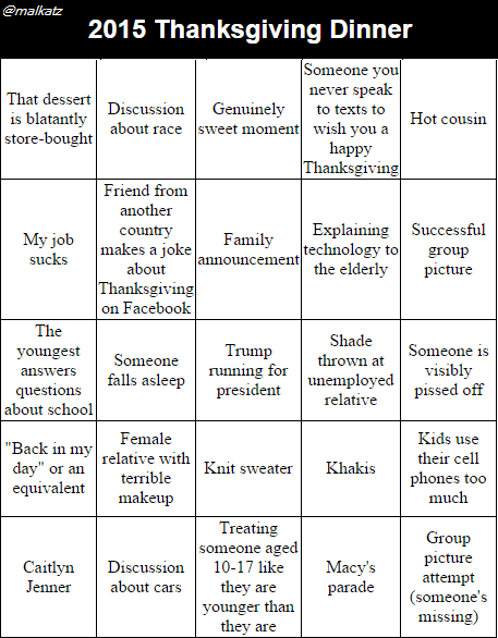 Thanksgiving dinner kinda sucks, so I made these Bingo cards. Share and use them to stay sane. #thanksgiving https://t.co/uvet0j7MSa
