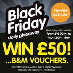 LAST CHANCE TO WIN! FLW & RT to enter todays #competition to #win £50 B&M voucher #winit #BMBlackFri #BlackFriday https://t.co/gkdJsSla35