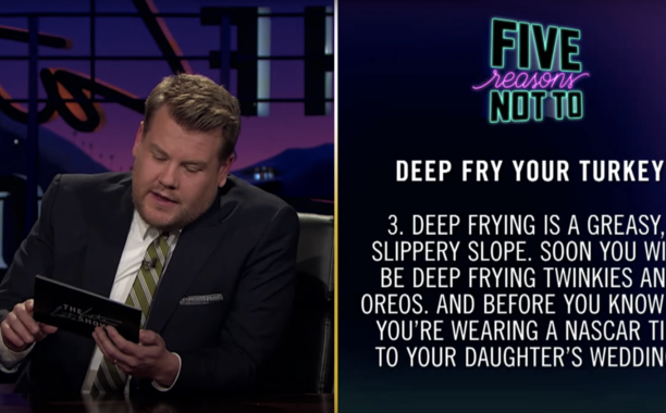 James Corden explains why deep-frying a turkey on Thanksgiving is a very, very bad idea: 🦃