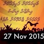 Inzaaru dhinas #Minjuvaan nikunnaanan 27 Nov 2015 16:00 @ #ArtificialBeach @PoliceMv https://t.co/hGQOeGfslJ