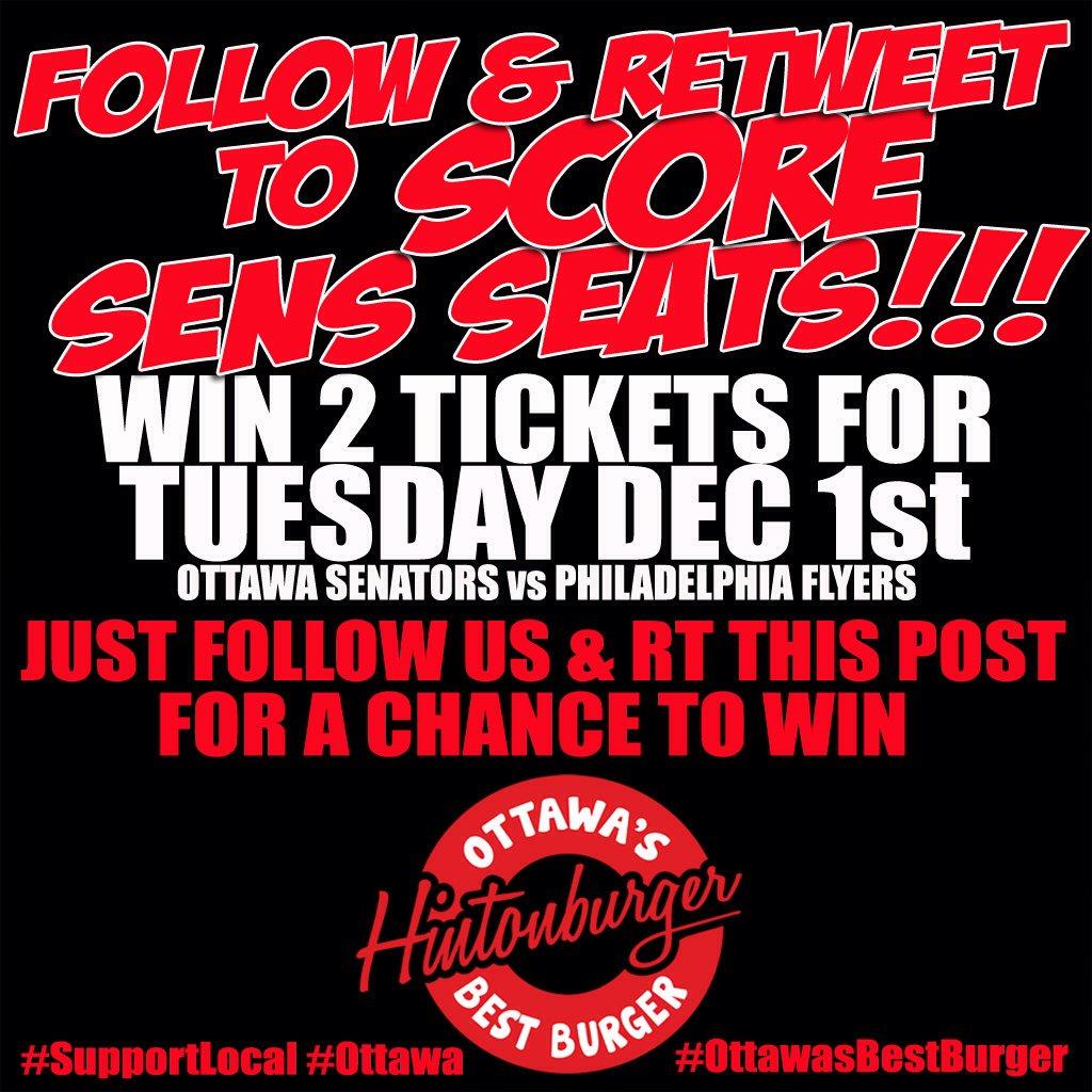 Follow & RT to #WIN 2 txts @ottawasenators vs #Philadelphia #Flyers  Dec 1st #GoSensGo #Ottawa #OttawaSenators https://t.co/CHRzb3hBpi
