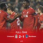 FULL-TIME: Job done as the Reds secure progress to the Europa League knockout stages - #LFC 2-1 Bordeaux https://t.co/ICxDLhpcar