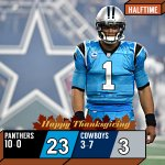 HALFTIME: @CameronNewton, @Panthers pulling away from the @dallascowboys. #CARvsDAL https://t.co/Mp4djozKHF
