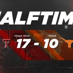 HALFTIME: #TexasTech - 17 Texas - 10 #WreckEm https://t.co/IgEde0iN9z
