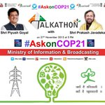 Join me & my colleague @PiyushGoyal in Talkathon on #Indias stand on #COP21 today @5pm. Ask Qs with #AskonCOP21 https://t.co/V3zWKhIgY4