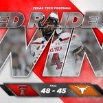 RED RAIDERS WIN! Texas Tech wins a 48-45 shootout against Texas -- Techs first win in Austin since 1997! #WreckEm https://t.co/yM8tm4yyYi