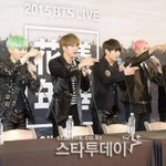 BTS at the press conference of their concert 2015 BTS LIVE 화양연화 on stage today https://t.co/iZdlgpNvIt
