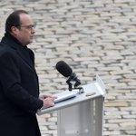 """Hollande : """"nous ne céderons ni à la peur, ni à la haine"""" https://t.co/K7glo8Uos1 https://t.co/Qs4cKDOUOR"""
