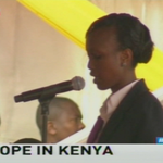 Linet: The youth today present a gift to you, pray for us for the sake of a better society #PopeinAfrica https://t.co/pd3tGziE58