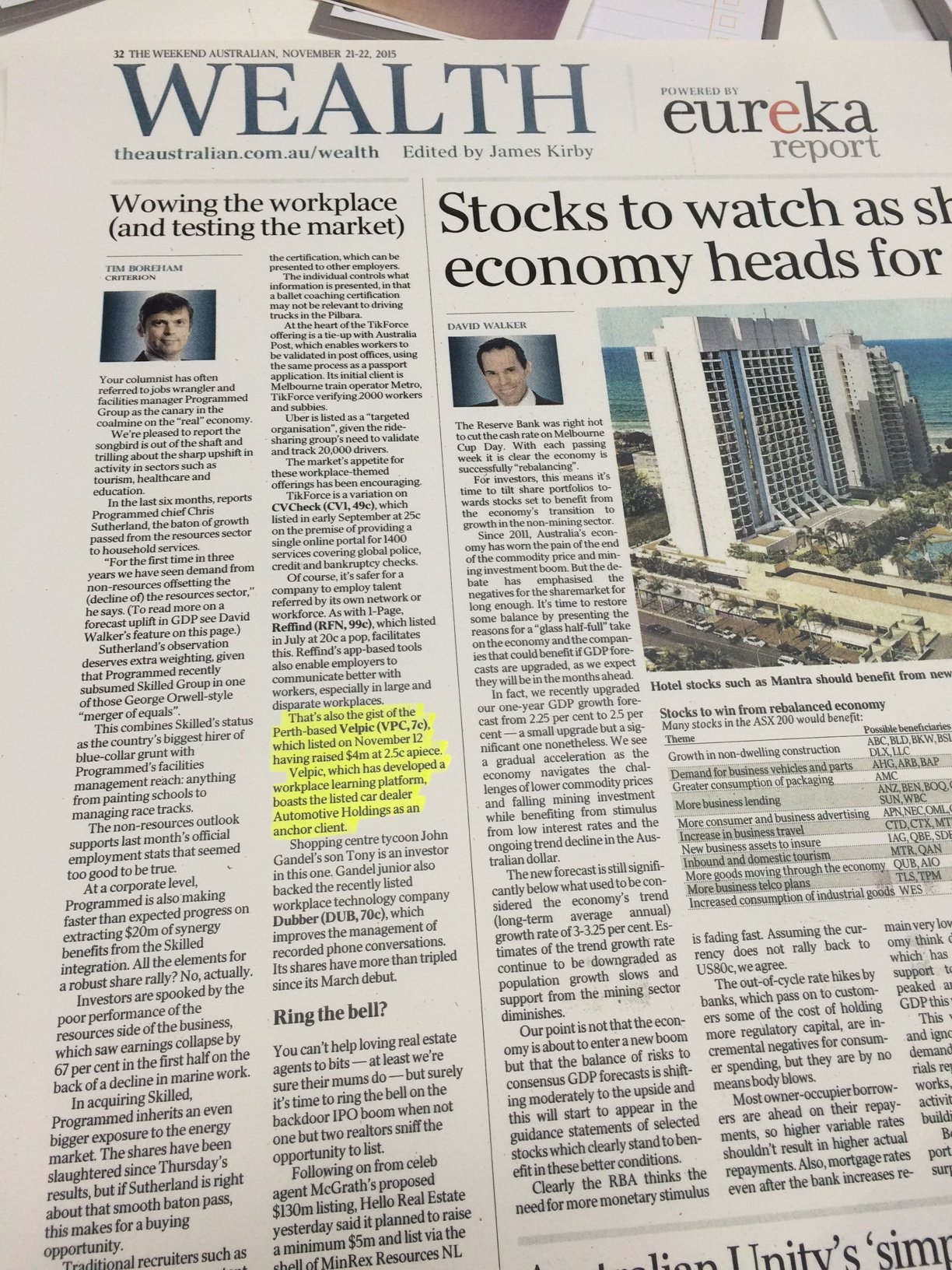 """Seen in The Weekend @australian """"Perth-based @velpic (VPC, 7c) listed on Nov 12 having raised $4m at 2.5c a piece.."""" https://t.co/uYi23bKUfl"""