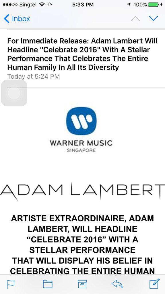 CONFIRMED: Adam Lambert (@adamlambert) WILL perform in Singapore. Official press release from Warner Music. https://t.co/Slsjq42xEL