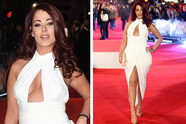 jessica hayes narrowly dodges a nip slip in daring cut