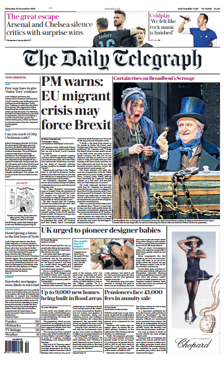 the daily telegraph front page   u0026quot pm warns  eu migrant