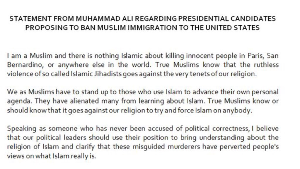 A statement from Muhammad Ali: https://t.co/PO3hZrP7js