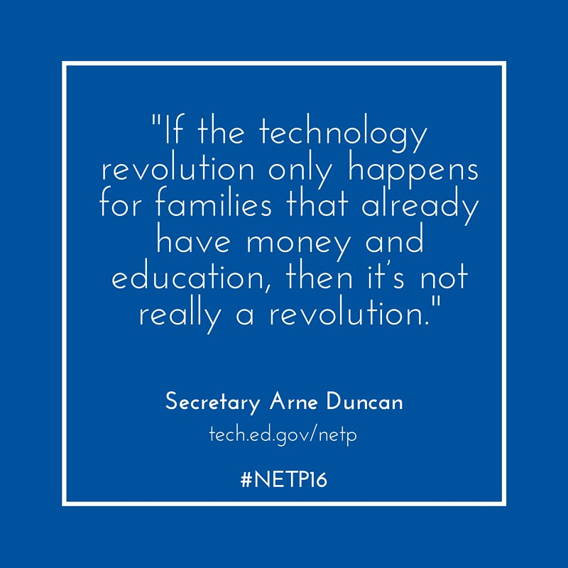 The 2016 National #EdTech Plan articulates a vision of #equity: https://t.co/WBlUWfTH9X #NETP16 https://t.co/91Z8dAbn2b