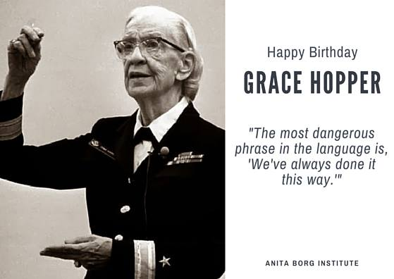 Happy bday, Grace Hopper! Thank you for inspiring millions of women to explore STEM: https://t.co/vQxXsKjjWC #otd https://t.co/Siat5fHo0J