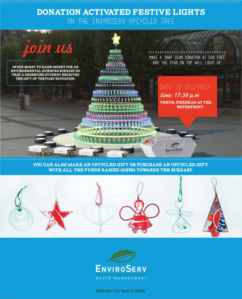 Just a note Tweeties, the #UpcycledTree @VandAWaterfront has been renamed #EnviroServTree lights up with donations https://t.co/rzRUcEeqhj