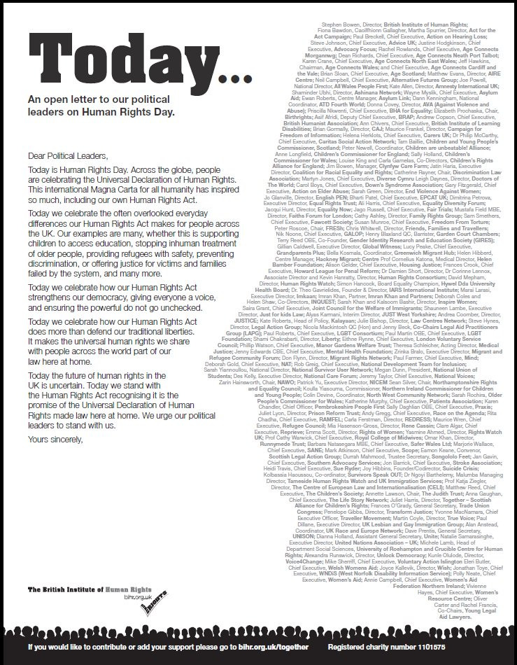 Over 150 organisations have signed our letter in celebration of #HumanRightsDay. Read here: https://t.co/AR6hQfLiJS https://t.co/DlpKPRNOxB